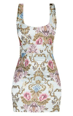 Dusty Blue Floral Jacquard Square Neck Bodycon Dress | PrettyLittleThing USA