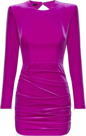 Alex Perry Harley Ruched Velvet Mini Dress