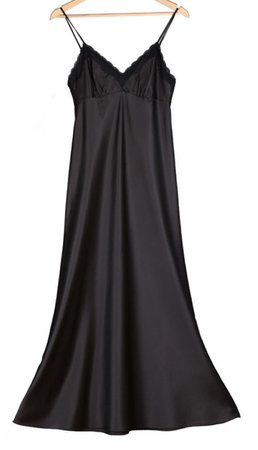 Bridesmaids Long Silk Nightgowns Women black And White Satin Nightdress Lace Spaghetti Strap Sexy Silk Sleep Wear Nightshirt