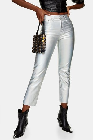 Silver Iridescent Straight Jeans