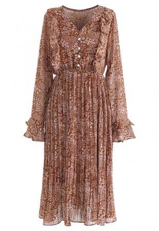 Floret Ruffle Trim Chiffon Midi Dress in Caramel - NEW ARRIVALS - Retro, Indie and Unique Fashion