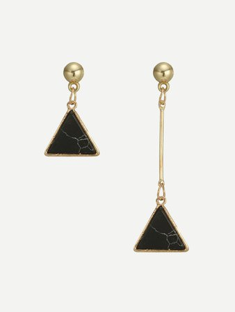 Triangle Design Mismatched Drop Earrings