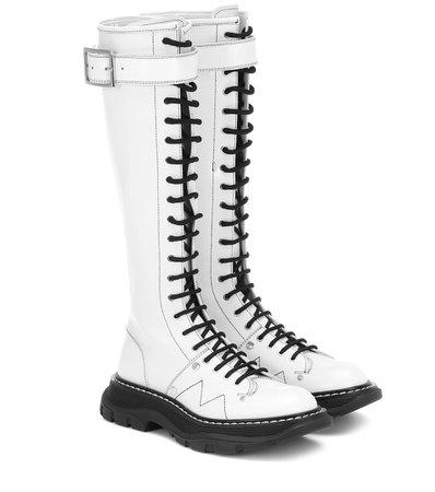 Alexander McQueen Leather Knee-High Boots