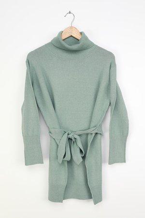 Mint Blue Dress - Knit Sweater Dress - Long Sleeve Dress - Lulus