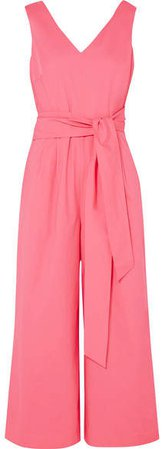 Dark Matter Belted Cotton-blend Poplin Jumpsuit - Pink