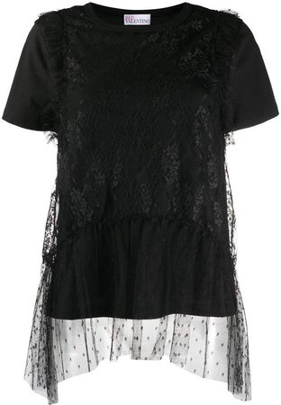 tulle-layer cotton T-shirt