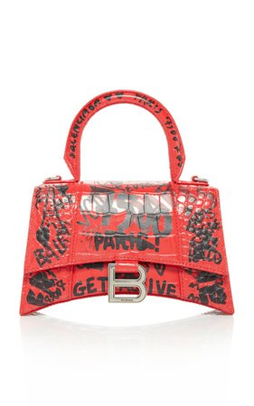 Hourglass Xs Embellished Printed Croc-Effect Leather Top Handle Bag By Balenciaga | Moda Operandi