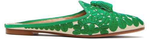 Fez Floral Embroidered Twill Backless Loafers - Womens - Green
