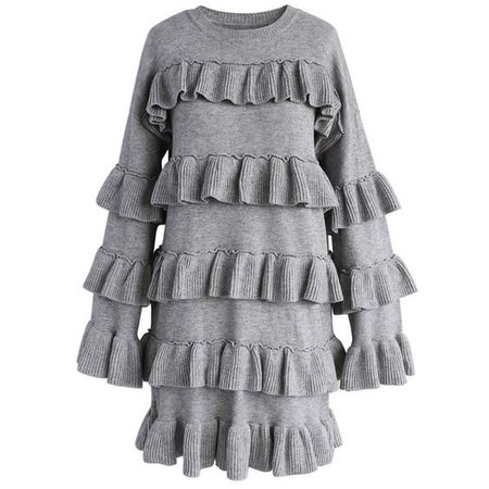 Chicwish Tiered Fantasy Sweater Dress in Grey