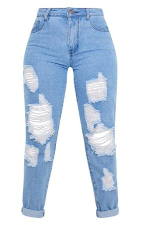 Petite Mid Wash Distressed Jean   Petite   PrettyLittleThing