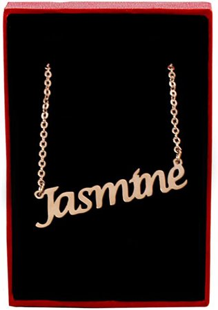 Amazon.com: Zacria Jasmine Name Necklace, 18ct Rose Gold Plated,Personalized Dainty Necklace,Jewelry Gift Women, Girlfriend, Mother, Sister, Friend, Personalized Jewelry: Jewelry