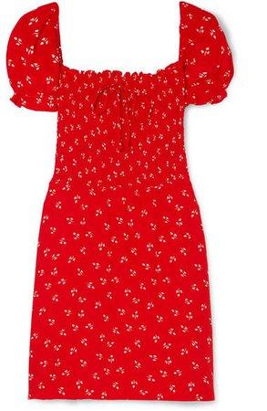 Genevieve Shirred Printed Crepe Mini Dress