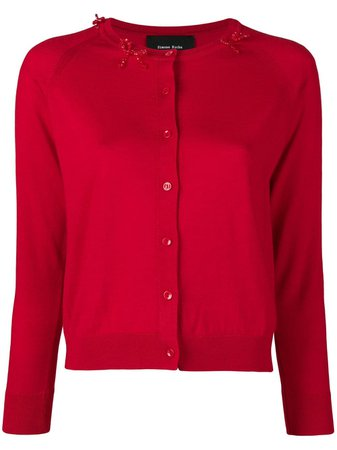 Shop red Simone Rocha beaded bow cardigan with Express Delivery - Farfetch