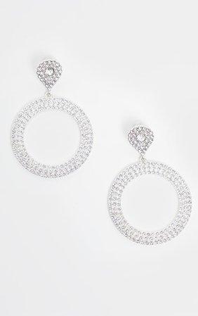 Crystal Diamante Teardrop And Circle Drop Earrings | PrettyLittleThing