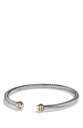 David Yurman Cable Classics Bracelet with 18K Gold, 4mm | Nordstrom
