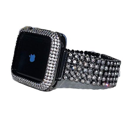Black Apple Watch Band 38mm Women, Metal Lab Diamond Bezel Case Cover Bling, Crystal Iwatch Band