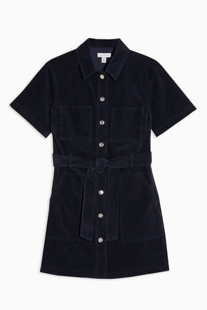 Navy Corduroy Short Sleeve mini Dress | Topshop