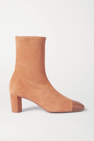 Tan Fernanda suede and leather ankle boots | Stuart Weitzman | NET-A-PORTER
