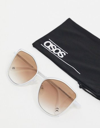 ASOS DESIGN angular cat eye sunglasses with suspended lens in white | ASOS