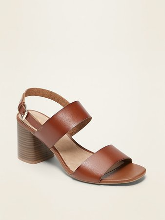 Faux-Leather Slingback Block-Heel Sandals for Women | Old Navy
