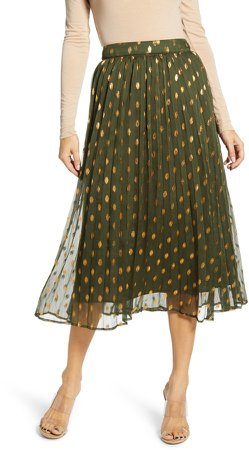 Polka Dot Pleated Skirt