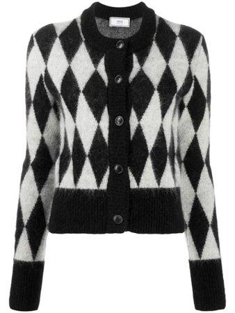 AMI diamond-pattern Crew Neck Cardigan - Farfetch