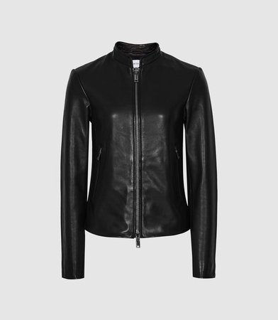 Allie Black Leather Collarless Biker Jacket – REISS