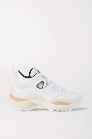 Mesh And Leather Sneakers - White