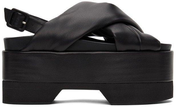 Black Cross Strap Platform Sandals
