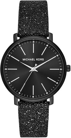 Michael Kors Women's Pyper Stainless Steel Quartz Watch with Leather Strap, Black, 18 (Model: MK2885): Watches