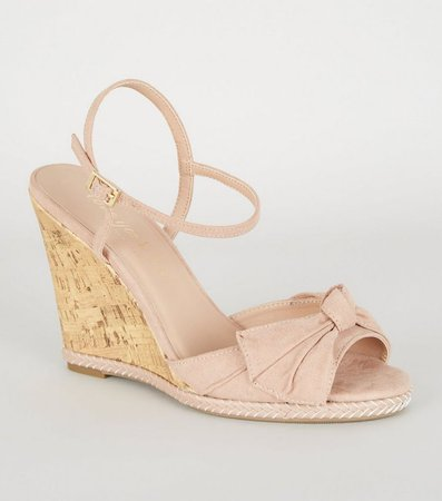 Nude Bow Front Espadrille Cork Wedges | New Look