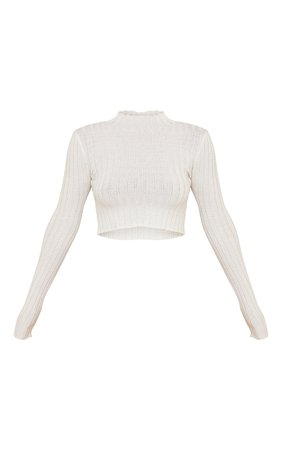 Cream Wide Rib Knitted Long Sleeve Crop Jumper   PrettyLittleThing