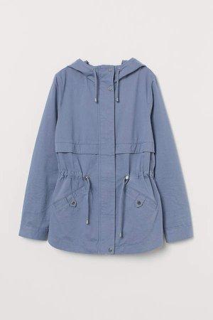 Short Cotton Parka - Blue