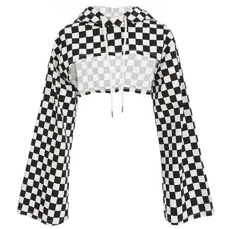 Heartbreak Checkered Crop Hoodie – AlienMood
