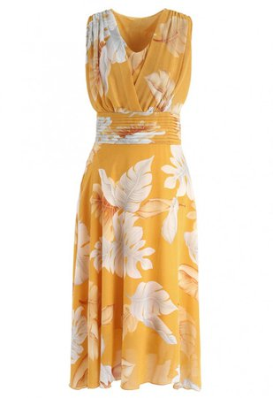 Mustard Tropical Leaf Pleated Sleeveless Chiffon Dress - NEW ARRIVALS - Retro, Indie and Unique Fashion