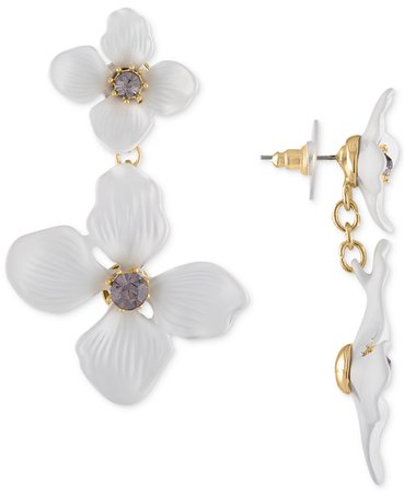 RACHEL Rachel Roy Gold-Tone Crystal Flower Double Drop Earrings & Reviews - Earrings - Jewelry & Watches - Macy's