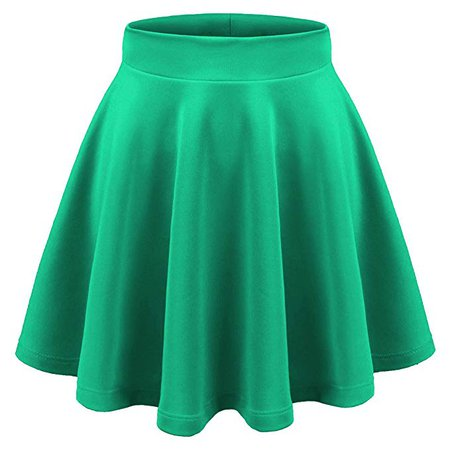 Aenlley Womens Basic Shirts Stretchy Short Pleated Circle Flared Skater Skirt Color Green Size M at Amazon Women's Clothing store: