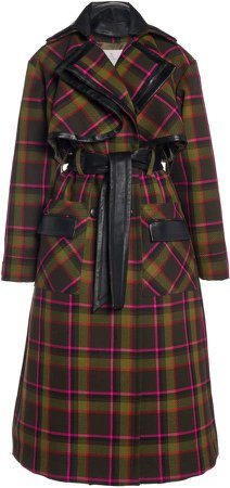 Ralph & Russo Wool Check Belted Trench Coat