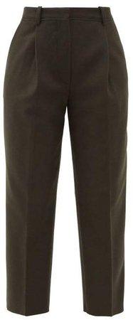 Trea Wool Blend Straight Leg Tailored Trousers - Womens - Khaki