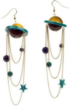 moon stars space earrings