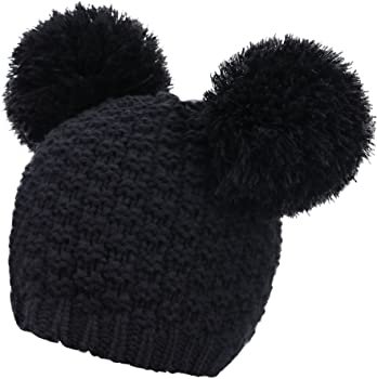 Livingston Women's Winter Chunky Knit Double Pompom Ears Beanie Hat, Black at Amazon Women's Clothing store