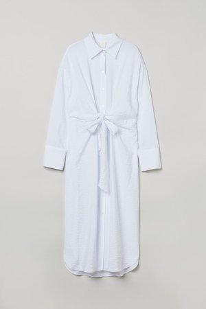 Tie-front shirt dress - White - Ladies | H&M GB