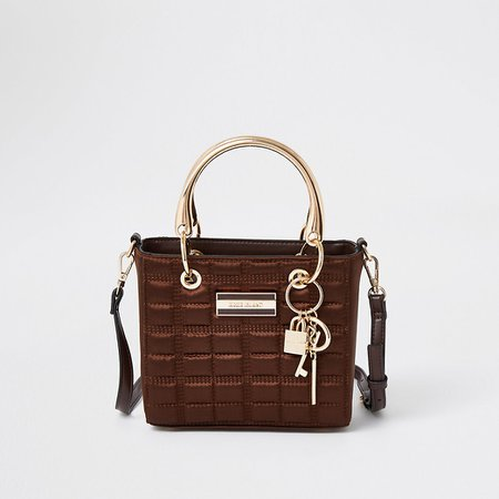 Brown small boxy quilted tote handbag | River Island