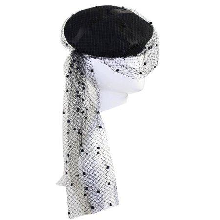 Rare Chanel Vintage Black Wool Beret Wedding Evening Veil Hat Documented For Sale at 1stdibs