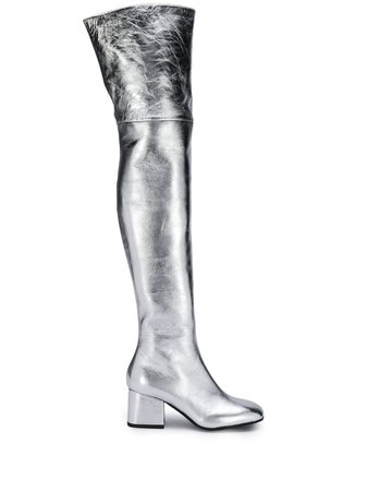 Silver Marni metallic thigh-high boots - Farfetch
