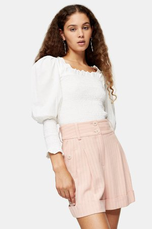 Blush Pink Stripe Shorts With Linen