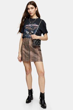 Sand Snake Print Zip Front Skirt