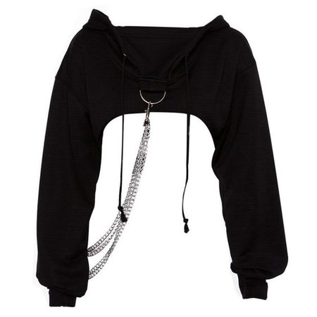 black crop hoodie chain