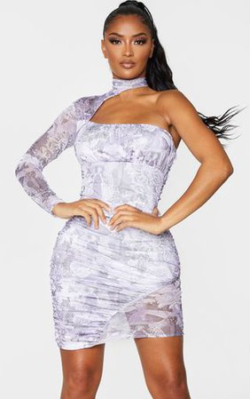 Shape Lilac Print High Neck Cut Out Bodycon Dress   PrettyLittleThing
