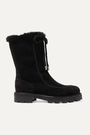 Buffy Shearling-lined Suede Boots - Black